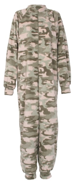 Camouflage pattern fleece onesie and all-in-one