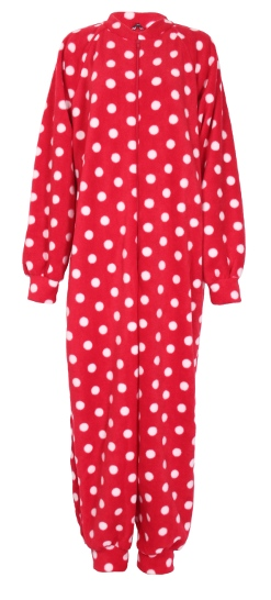 Red Polka pattern fleece onesie and all-in-one